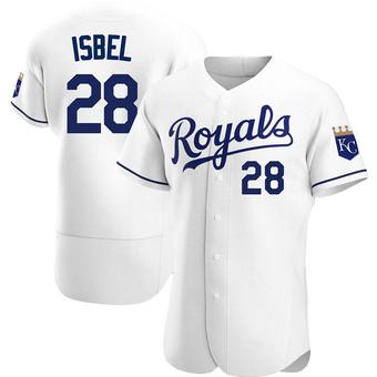 Men's Kyle Isbel Kansas City White Authentic Home Baseball Jersey (Unsigned No Brands/Logos)
