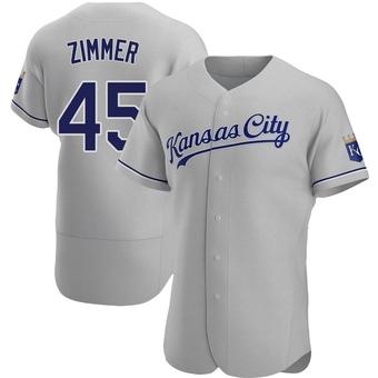 Men's Kyle Zimmer Kansas City Gray Authentic Road Baseball Jersey (Unsigned No Brands/Logos)