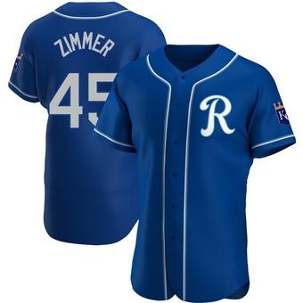 Men's Kyle Zimmer Kansas City Royal Authentic Alternate Baseball Jersey (Unsigned No Brands/Logos)