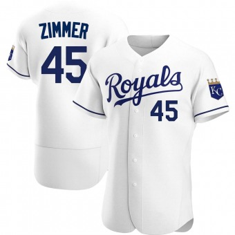 Men's Kyle Zimmer Kansas City White Authentic Home Baseball Jersey (Unsigned No Brands/Logos)