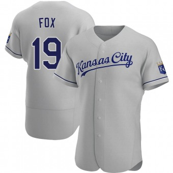 Men's Lucius Fox Kansas City Gray Authentic Road Baseball Jersey (Unsigned No Brands/Logos)