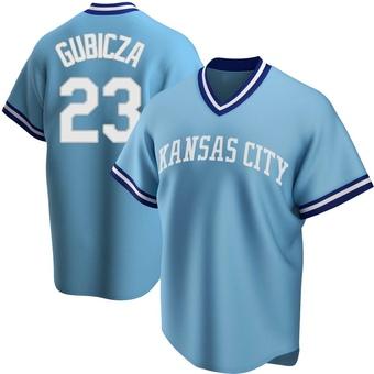 Men's Mark Gubicza Kansas City Light Blue Replica Road Cooperstown Collection Baseball Jersey (Unsigned No Brands/Logos)