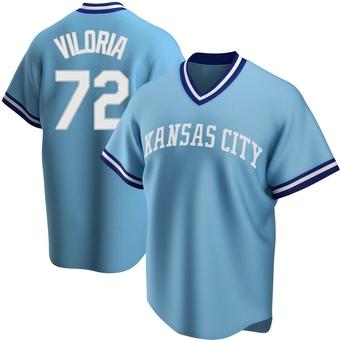 Men's Meibrys Viloria Kansas City Light Blue Replica Road Cooperstown Collection Baseball Jersey (Unsigned No Brands/Logos)