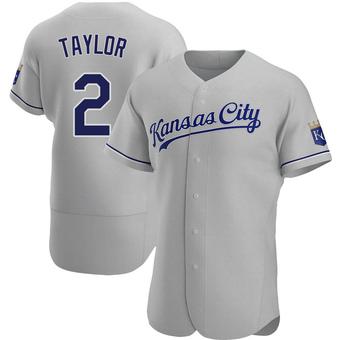 Men's Michael Taylor Kansas City Gray Authentic Road Baseball Jersey (Unsigned No Brands/Logos)