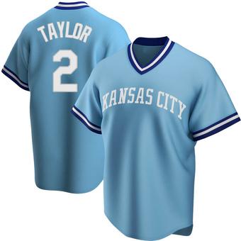 Men's Michael Taylor Kansas City Light Blue Replica Road Cooperstown Collection Baseball Jersey (Unsigned No Brands/Logos)