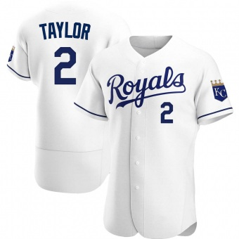 Men's Michael Taylor Kansas City White Authentic Home Baseball Jersey (Unsigned No Brands/Logos)