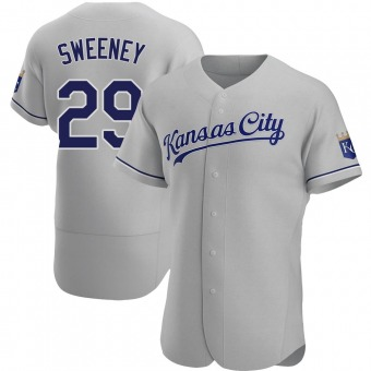 Men's Mike Sweeney Kansas City Gray Authentic Road Baseball Jersey (Unsigned No Brands/Logos)
