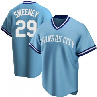 Men's Mike Sweeney Kansas City Light Blue Replica Road Cooperstown Collection Baseball Jersey (Unsigned No Brands/Logos)