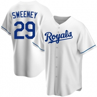 Men's Mike Sweeney Kansas City White Replica Home Baseball Jersey (Unsigned No Brands/Logos)