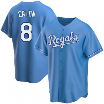 Men's Nathan Eaton Kansas City Light Blue Replica Alternate Baseball Jersey (Unsigned No Brands/Logos)