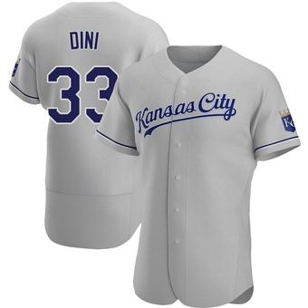 Men's Nick Dini Kansas City Gray Authentic Road Baseball Jersey (Unsigned No Brands/Logos)