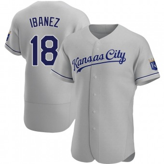 Men's Raul Ibanez Kansas City Gray Authentic Road Baseball Jersey (Unsigned No Brands/Logos)