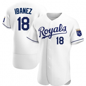 Men's Raul Ibanez Kansas City White Authentic Home Baseball Jersey (Unsigned No Brands/Logos)