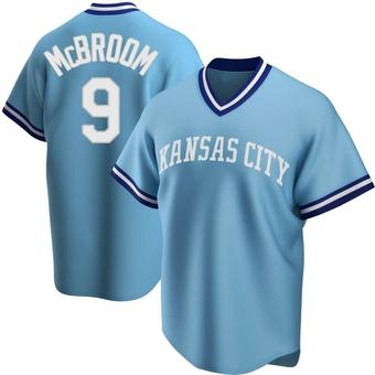 Men's Ryan McBroom Kansas City Light Blue Replica Road Cooperstown Collection Baseball Jersey (Unsigned No Brands/Logos)