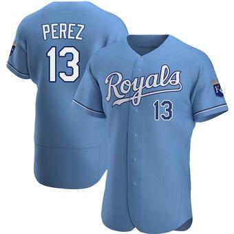 Men's Salvador Perez Kansas City Light Blue Authentic Alternate Baseball Jersey (Unsigned No Brands/Logos)
