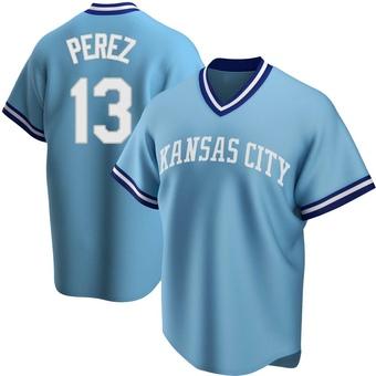Men's Salvador Perez Kansas City Light Blue Replica Road Cooperstown Collection Baseball Jersey (Unsigned No Brands/Logos)