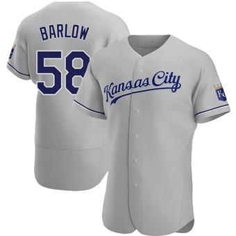 Men's Scott Barlow Kansas City Gray Authentic Road Baseball Jersey (Unsigned No Brands/Logos)