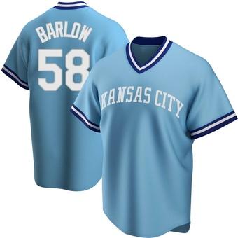Men's Scott Barlow Kansas City Light Blue Replica Road Cooperstown Collection Baseball Jersey (Unsigned No Brands/Logos)