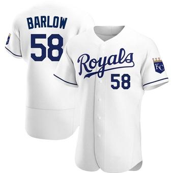 Men's Scott Barlow Kansas City White Authentic Home Baseball Jersey (Unsigned No Brands/Logos)