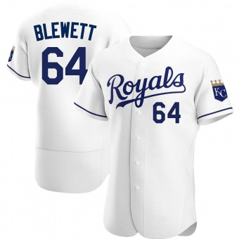 Men's Scott Blewett Kansas City White Authentic Home Baseball Jersey (Unsigned No Brands/Logos)