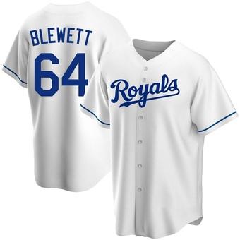 Men's Scott Blewett Kansas City White Replica Home Baseball Jersey (Unsigned No Brands/Logos)