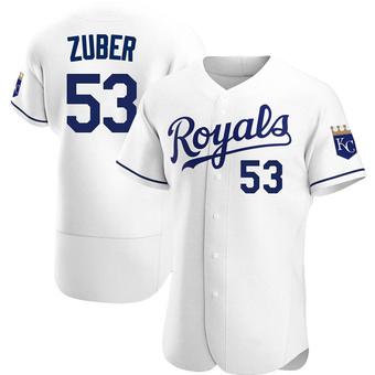Men's Tyler Zuber Kansas City White Authentic Home Baseball Jersey (Unsigned No Brands/Logos)