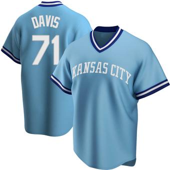 Men's Wade Davis Kansas City Light Blue Replica Road Cooperstown Collection Baseball Jersey (Unsigned No Brands/Logos)