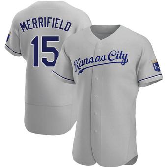 Men's Whit Merrifield Kansas City Gray Authentic Road Baseball Jersey (Unsigned No Brands/Logos)