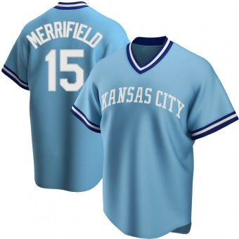 Men's Whit Merrifield Kansas City Light Blue Replica Road Cooperstown Collection Baseball Jersey (Unsigned No Brands/Logos)