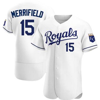 Men's Whit Merrifield Kansas City White Authentic Home Baseball Jersey (Unsigned No Brands/Logos)