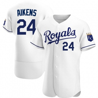 Men's Willie Aikens Kansas City White Authentic Home Baseball Jersey (Unsigned No Brands/Logos)