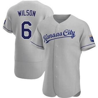Men's Willie Wilson Kansas City Gray Authentic Road Baseball Jersey (Unsigned No Brands/Logos)