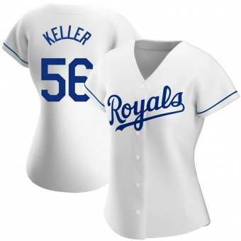 Women's Brad Keller Kansas City White Authentic Home Baseball Jersey (Unsigned No Brands/Logos)
