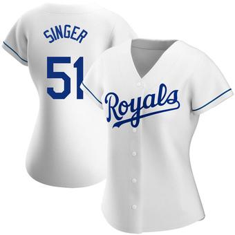 Women's Brady Singer Kansas City White Replica Home Baseball Jersey (Unsigned No Brands/Logos)