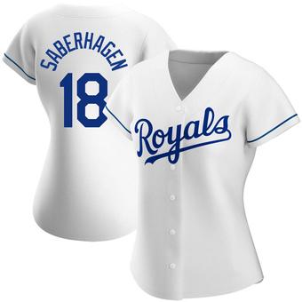 Women's Bret Saberhagen Kansas City White Authentic Home Baseball Jersey (Unsigned No Brands/Logos)