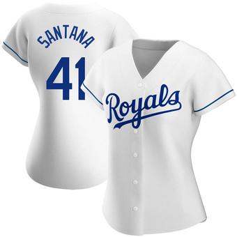Women's Carlos Santana Kansas City White Authentic Home Baseball Jersey (Unsigned No Brands/Logos)