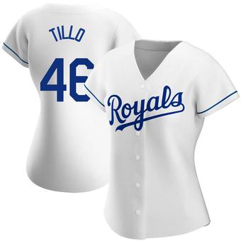 Women's Daniel Tillo Kansas City White Replica Home Baseball Jersey (Unsigned No Brands/Logos)