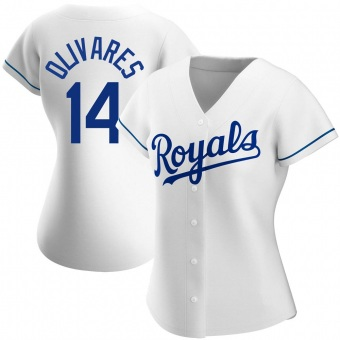 Women's Edward Olivares Kansas City White Authentic Home Baseball Jersey (Unsigned No Brands/Logos)