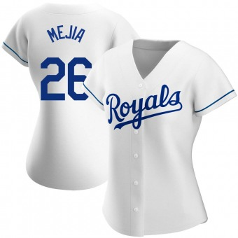 Women's Erick Mejia Kansas City White Authentic Home Baseball Jersey (Unsigned No Brands/Logos)