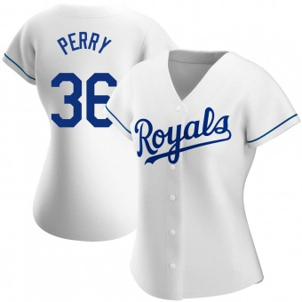 Women's Gaylord Perry Kansas City White Authentic Home Baseball Jersey (Unsigned No Brands/Logos)