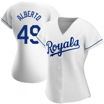 Women's Hanser Alberto Kansas City White Replica Home Baseball Jersey (Unsigned No Brands/Logos)