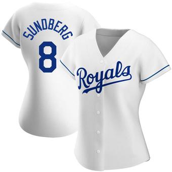 Women's Jim Sundberg Kansas City White Authentic Home Baseball Jersey (Unsigned No Brands/Logos)