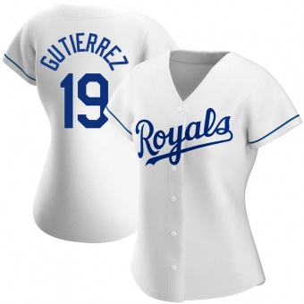Women's Kelvin Gutierrez Kansas City White Authentic Home Baseball Jersey (Unsigned No Brands/Logos)