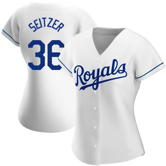 Women's Kevin Seitzer Kansas City White Replica Home Baseball Jersey (Unsigned No Brands/Logos)