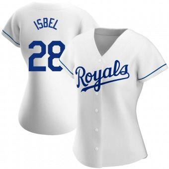 Women's Kyle Isbel Kansas City White Authentic Home Baseball Jersey (Unsigned No Brands/Logos)