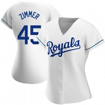 Women's Kyle Zimmer Kansas City White Authentic Home Baseball Jersey (Unsigned No Brands/Logos)