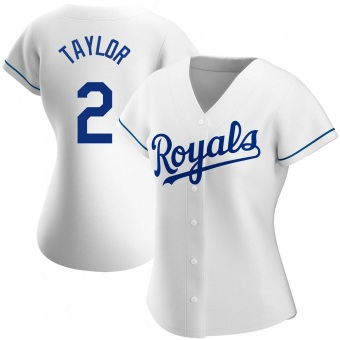 Women's Michael Taylor Kansas City White Authentic Home Baseball Jersey (Unsigned No Brands/Logos)