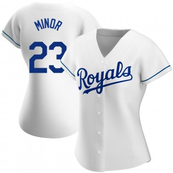Women's Mike Minor Kansas City White Authentic Home Baseball Jersey (Unsigned No Brands/Logos)