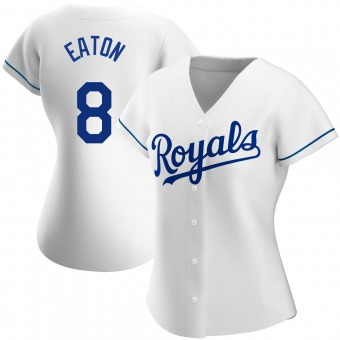 Women's Nathan Eaton Kansas City White Authentic Home Baseball Jersey (Unsigned No Brands/Logos)