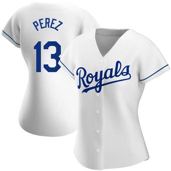 Women's Salvador Perez Kansas City White Replica Home Baseball Jersey (Unsigned No Brands/Logos)
